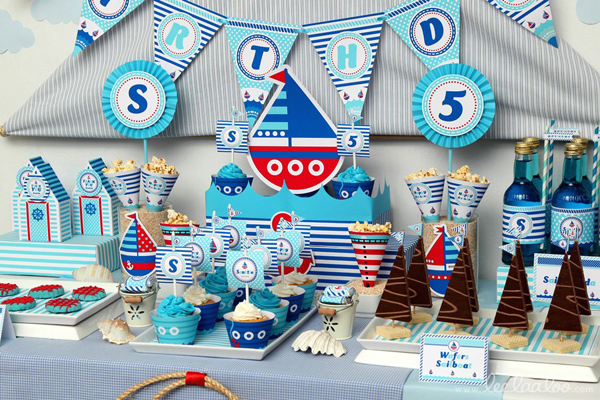 Nautical Sailboat Birthday Party via Kara's Party Ideas | Kara'sPartyIdeas.com #nautical #sailboat #birthday #party #planning #supplies #ideas (11)