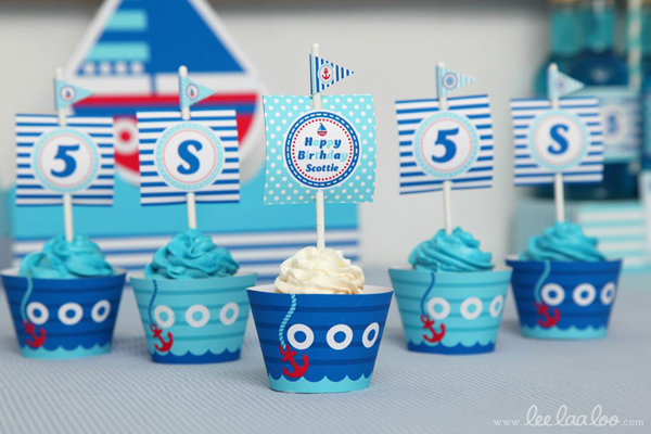 Nautical Sailboat Birthday Party via Kara's Party Ideas | Kara'sPartyIdeas.com #nautical #sailboat #birthday #party #planning #supplies #ideas (29)