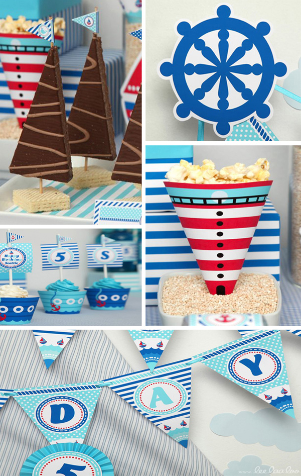 Nautical Sailboat Birthday Party with Lots of Ideas via Kara's Party Ideas | Kara'sPartyIdeas.com #nautical #sailboat #birthday #party #planning #supplies #ideas