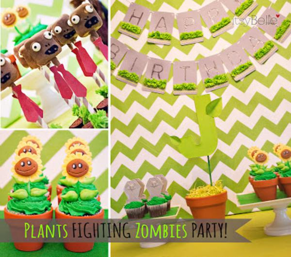 Karas Party Ideas Plants Vs Zombies Boy Video Game 6th Birthday Planning