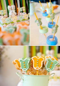 Precious Moments themed baby shower full of cute ideas! Love the bottles used as drinking glasses! Via Kara's Party Ideas KarasPartyIDeas.com #precious #moments #baby #shower #ideas