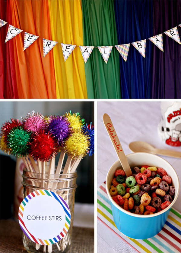 Rainbow Breakfast Party with Lots of Ideas via Kara