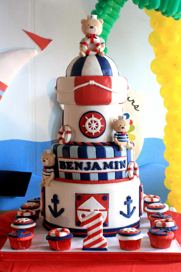 Sailor Bear Birthday Party with Lots of Ideas via Kara's Party Kara'PartyIdeas.com #sailor #bear #birthday #party #planning #ideas #supplies