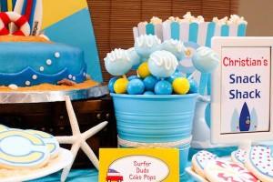 Surf themed birthday party via Kara's Party Ideas KarasPartyIdeas.com #surf #themed #birthday #party #ideas #cake #supplies #idea-10_600x400
