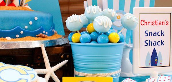 Surf themed birthday party via Kara's Party Ideas KarasPartyIdeas.com #surf #themed #birthday #party #ideas #cake #supplies #idea-10_600x400