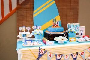 Surf themed birthday party via Kara's Party Ideas KarasPartyIdeas.com #surf #themed #birthday #party #ideas #cake #supplies #idea-11_600x400