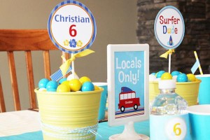 Surf themed birthday party via Kara's Party Ideas KarasPartyIdeas.com #surf #themed #birthday #party #ideas #cake #supplies #idea-33_600x400