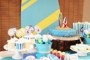 Surf themed birthday party via Kara's Party Ideas KarasPartyIdeas.com #surf #themed #birthday #party #ideas #cake #supplies #idea-35_600x400