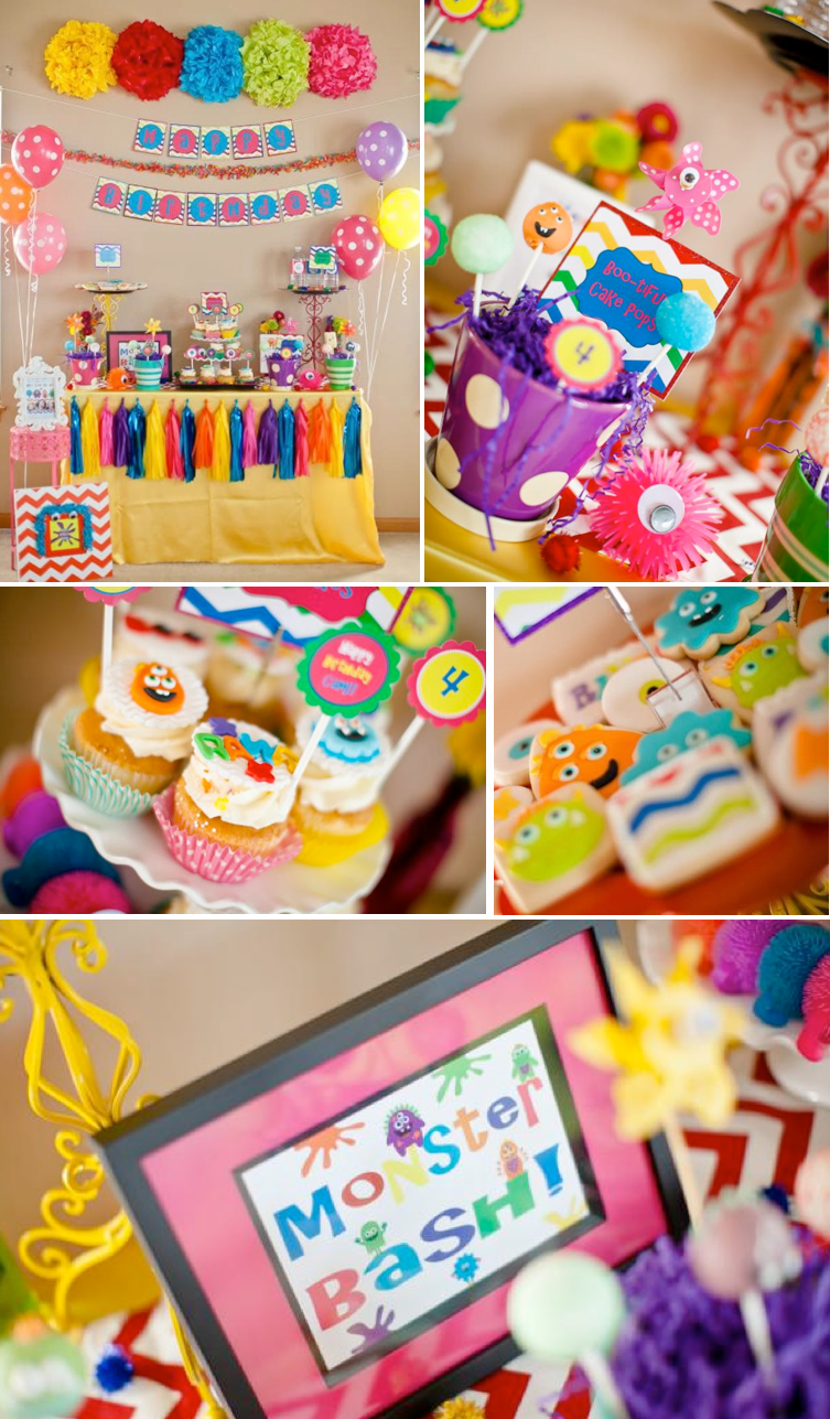 THE cutest girly monster bash themed birthday party with SO many cute ideas!! Via Kara's Party Ideas KarasPartyIdeas.com #monster #bash #girly #party #birthday #supplies #ideas #decor #favors #shop #decorations #cake #cupcakes #ideas