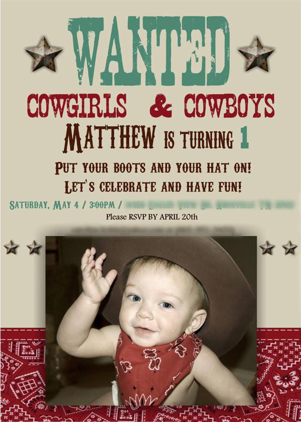 Karas Party Ideas Vintage Cowboy First Birthday Party via Karas – Cowboy First Birthday Invitations