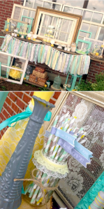 Vintage Mint Yellow and Gray Bridal Shower full of ideas! Via Kara's Party Ideas KarasPartyIdeas.com