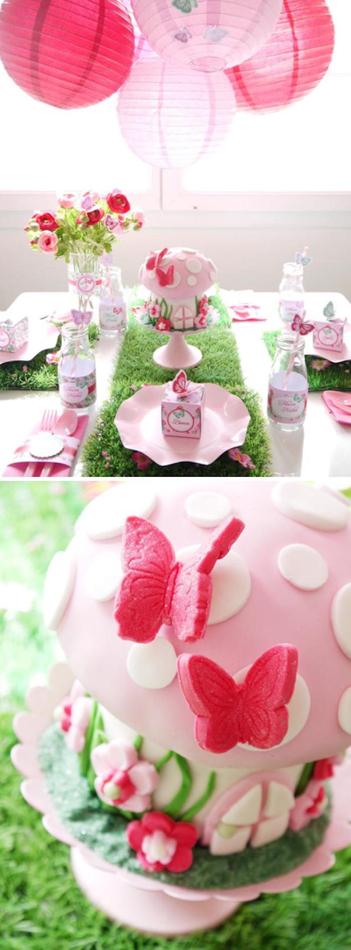Woodland Fairy Pixie themed birthday party with SO MANY CUTE IDEAS! Via Kara's Party Ideas KarasPartyIdeas.com #fairy #woodland #pixie #themed #birthday #party #cake #idea #supplies #decor #idea