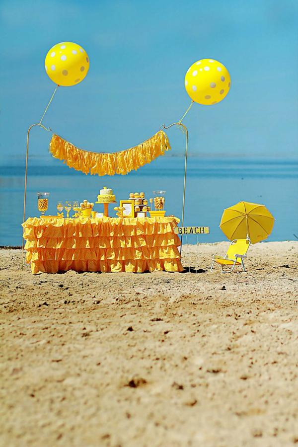 Kara s party ideas yellow polka dot bikini party planning