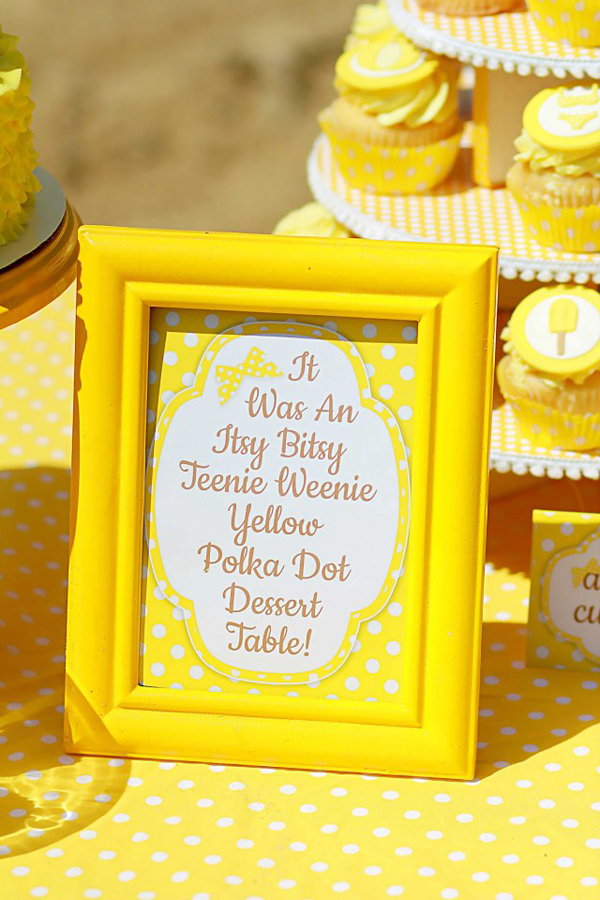 Yellow Polka Dot Bikini Party via Kara's Party Ideas | Kara'sPartyIdeas.com #yellow #polka #dot #bikini #party #supplies #ideas (2)