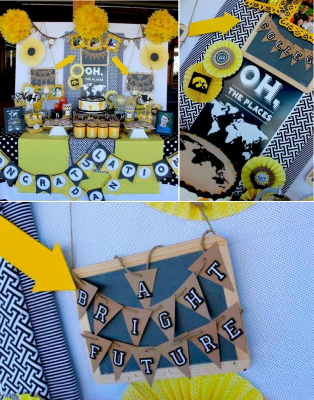 Oh the places he'll go GRADUATION PARTY with so many cute ideas! Via Kara's Party Ideas KarasPartyIdeas.com #graduation #oh #the #places #he'll #go #party #ideas #idea