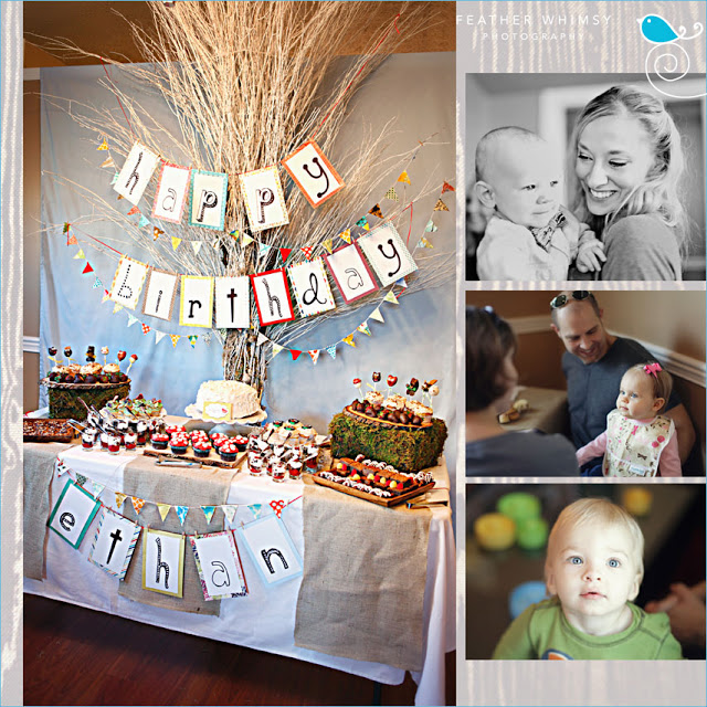 Kara's Party Ideas Retro Woodland 1st Birthday Party