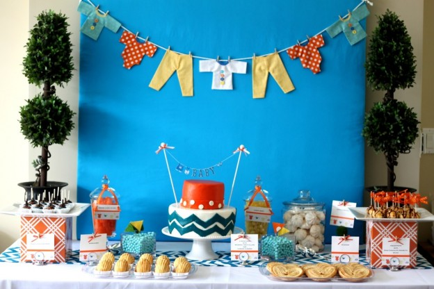 orange-and-blue-chevron-baby-shower-cake-food-ideas-decorations