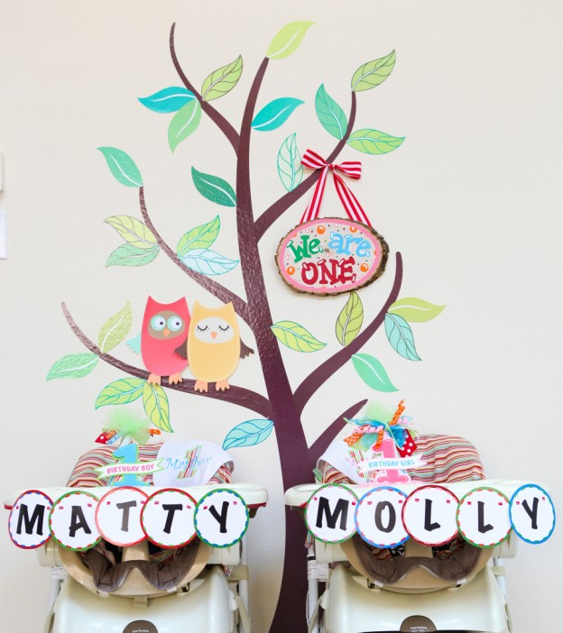 twin-owl-1st-first-birthday-party-ideas-cake-decorations
