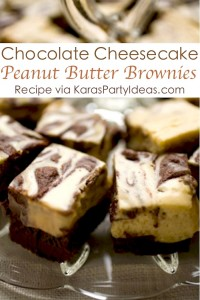 Chocolate Cheesecake Peanut Butter Brownies! YUM! Easy recipe via Kara's Party Ideas KarasPartyIdeas.com #cheeseacake #chocolate #brownie #recipe