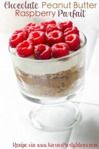 Chocolate Peanut Butter Raspberry Graham Parfait RECIPE! So yummy! Via KarasPartyIdeas.com #recipe #party #raspberry #chocolate #peanutbutter