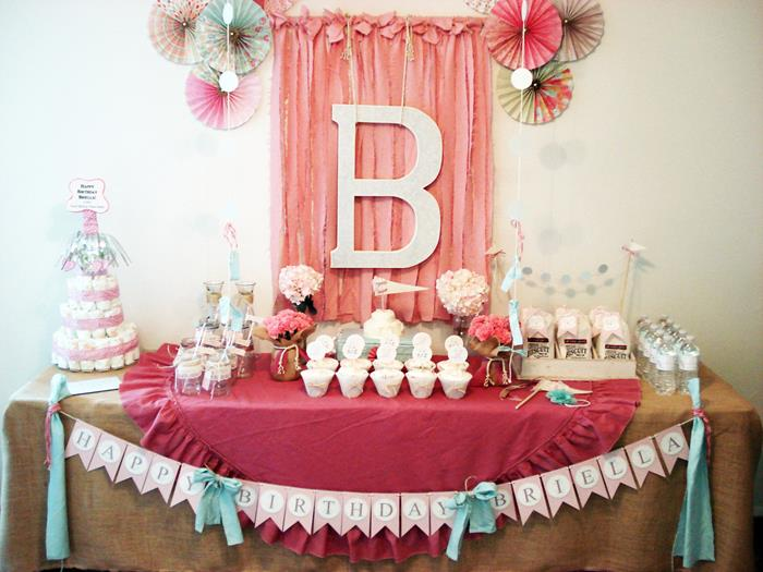 Karas Party Ideas Vintage Chic 1st Birthday Party via