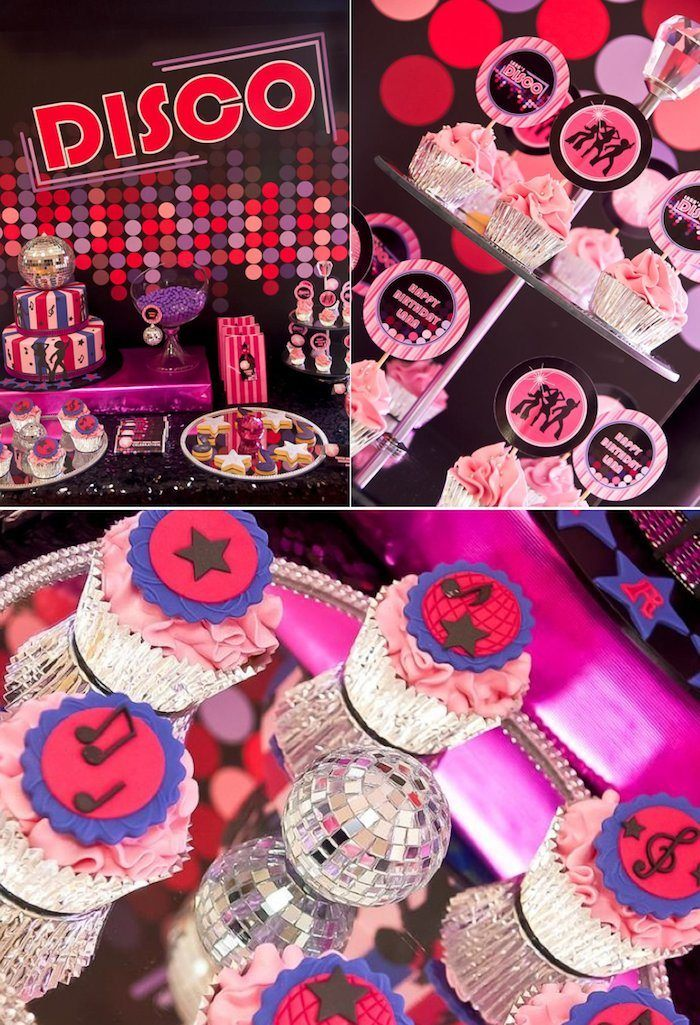 3dc56086211 Disco themed birthday party via KarasPartyIdeas.com - THE place for all  things party!