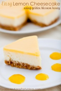Easy LEMON CHEESECAKE made with golden blossom honey! Recipe via KarasPartyIdeas.com #cheesecakerecipe #honeyrecipe #partyideas