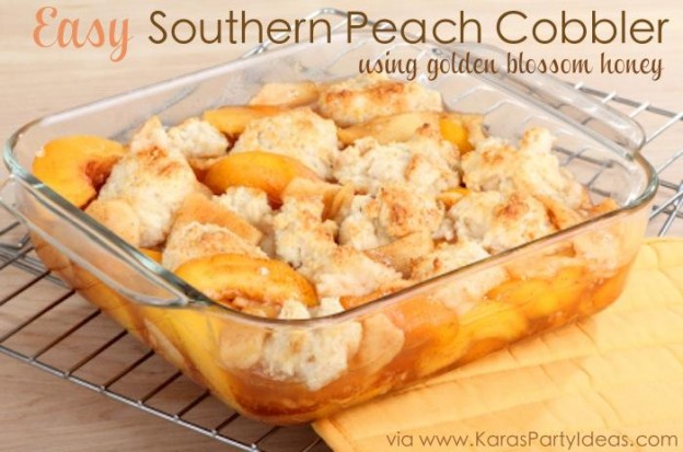 Easy Southern Peach Cobbler using golden blossom honey! Recipe via KarasPartyIdeas.com -The Place for all things PARTY! #recipe #cobbler