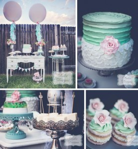 Mint and Pink Dessert Table with LOTS of REALLY CUTE IDEAS via Kara's Party Ideas | Kara'sPartyIdeas.com #Wedding #Dessert #Table #Planning #Idea (1)