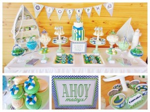 #chevron #BabyShower #Decorations #idea #cake #sailboat (17)