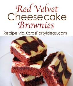 Red Velvet Cheesecake Brownies Recipe via Kara's Party Ideas KarasPartyIdeas.com #cheesecake #redvelvet #brownie #recipe