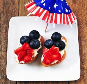 Red White Blue Crostini Recipe via Kara's Party Ideas KarasPartyIdeas.com #4th #july #recipes #crostini #blueberry #fruit