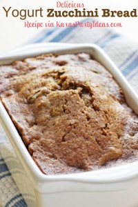 THE BEST and most delicious Yogurt Zucchini Bread recipe! Via Kara's Party Ideas KarasPartyIdeas.com