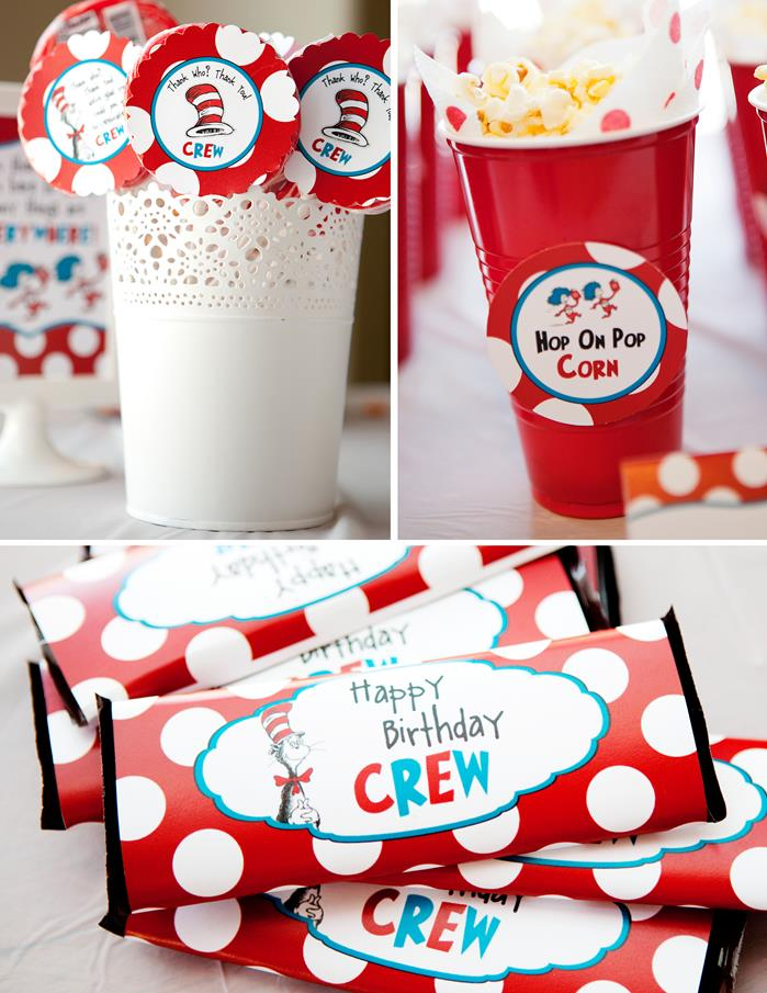 CatInTheHat Party Planning Birthday Cake Decorations Supplies Thing1Thing2