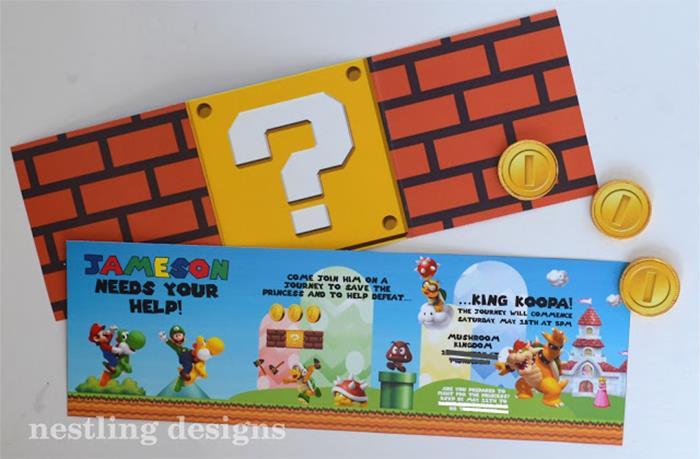 Karas Party Ideas Super Mario Birthday Party via Karas Party – Mario Party Invitations