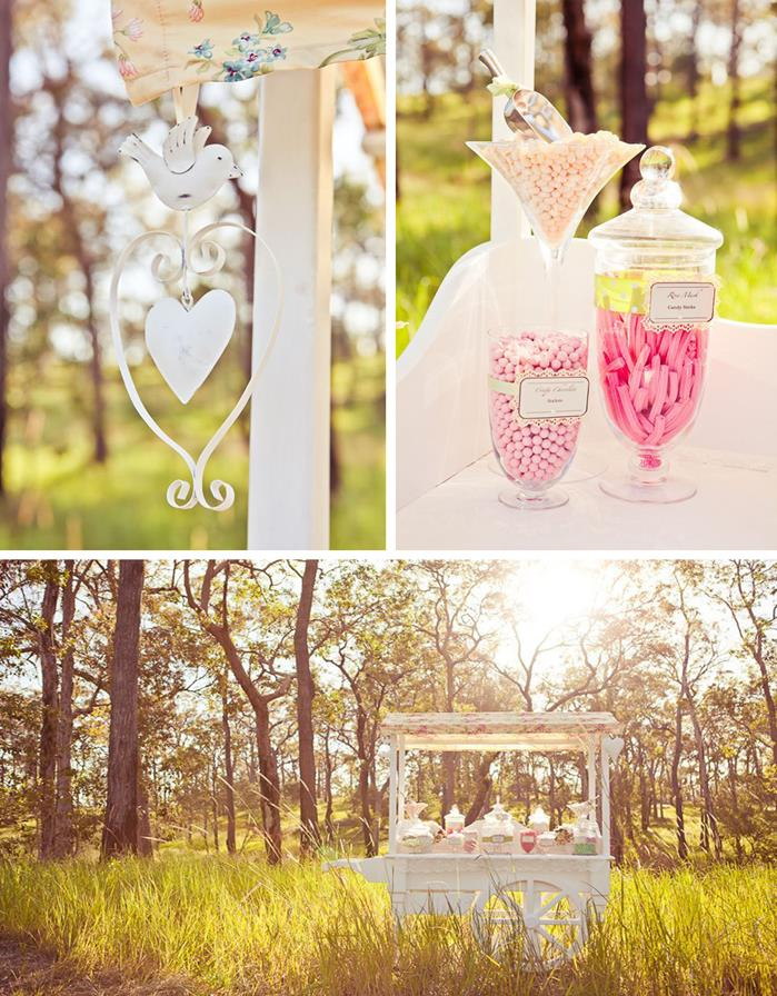 Kara 39 s party ideas vintage wedding candy cart with really for Cute wedding decoration ideas