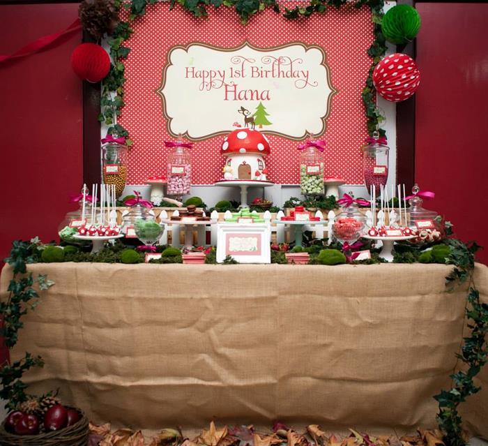 Woodland Birthday Party Decorations Mushroom Cake Idea Planning