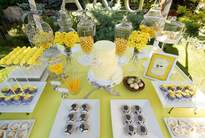 Kara S Party Ideas Yellow And Gray Wedding Dessert Table