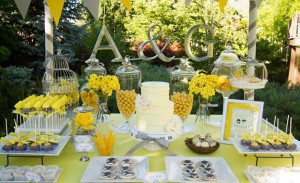 Yellow and Gray Wedding Dessert Table via Kara's Party Ideas | Kara'sPartyIdeas.com #Yellow #Gray #Wedding #Reception #Party #Planning #Idea (11)