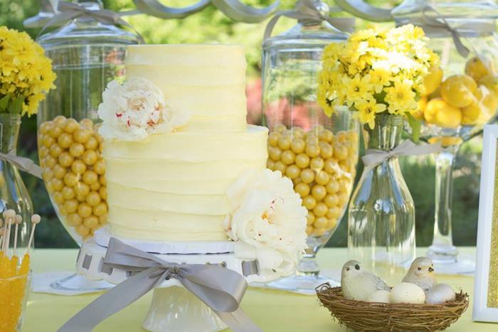 Karas Party Ideas Yellow Grey Gray Garden Wedding Dessert Table