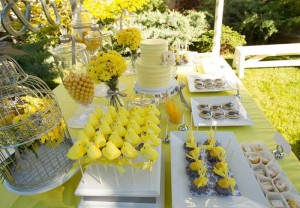 Yellow and Gray Wedding Dessert Table via Kara's Party Ideas | Kara'sPartyIdeas.com #Yellow #Gray #Wedding #Reception #Party #Planning #Idea (22)