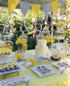 Yellow and Gray Wedding Dessert Table via Kara's Party Ideas | Kara'sPartyIdeas.com #Yellow #Gray #Wedding #Reception #Party #Planning #Idea (21)