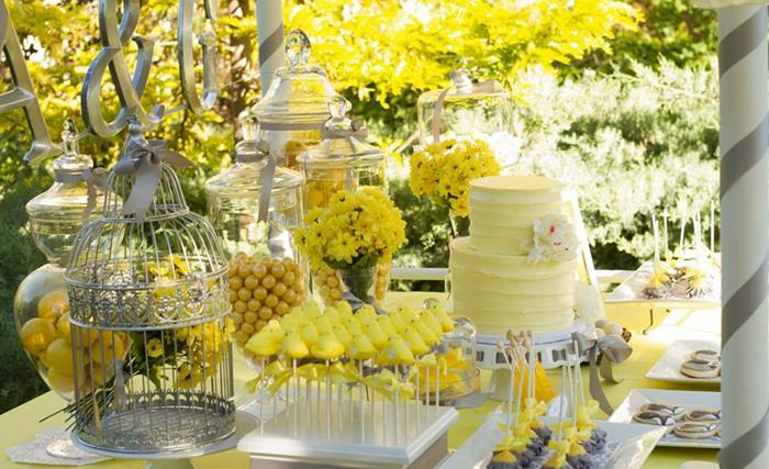Karas party ideas yellow and gray wedding dessert table via yellow and gray wedding dessert table via karas party ideas karaspartyideas junglespirit Images