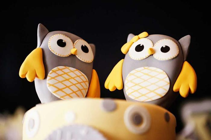 Karas Party Ideas Owl Yellow Grey Gray Twin Baby Shower Party