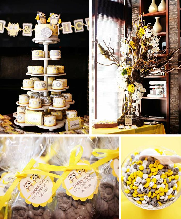 Kara's Party Ideas Owl Themed Yellow And Gray Baby Shower