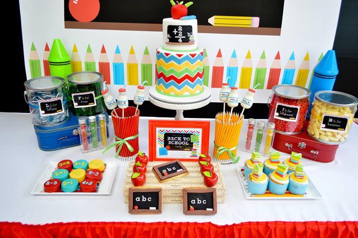Karas Party Ideas Rainbow Chevron Back To School Party Planning