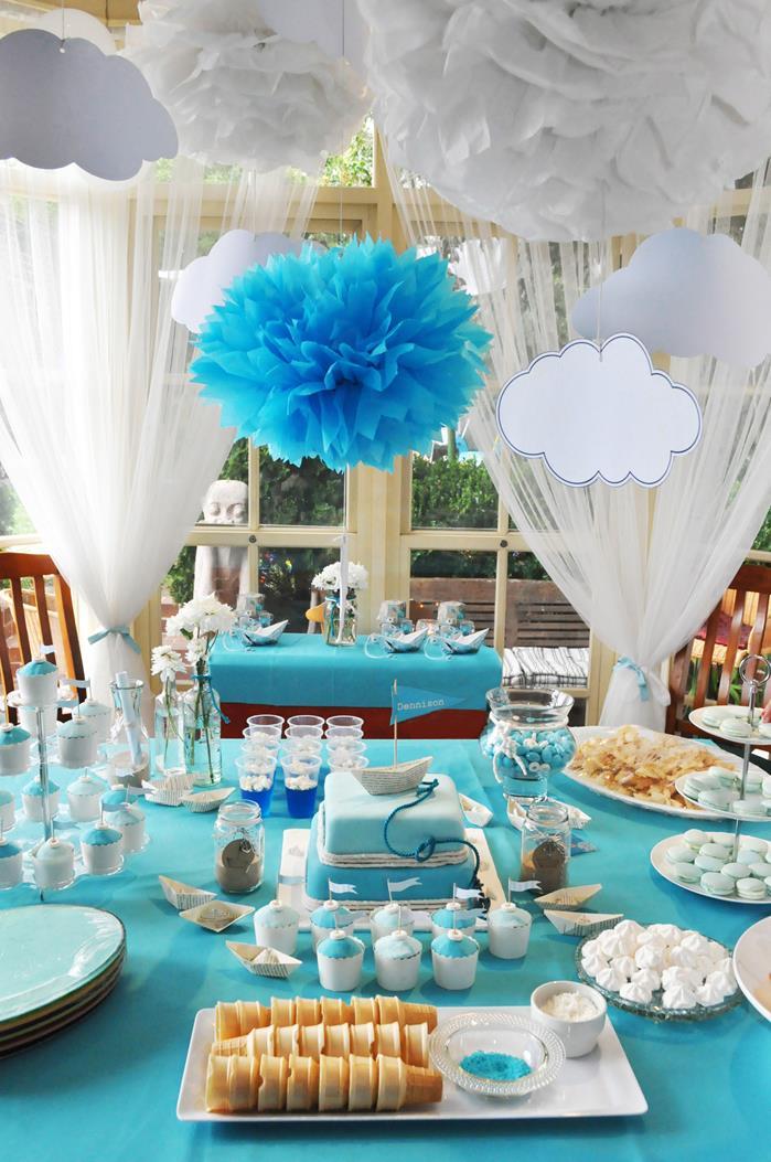 Kara 39 s party ideas paper boat christening party via kara 39 s party ideas kara 39 - Decorations for a baptism ...