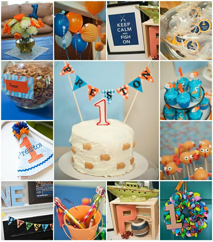 Kara 39 s party ideas fish themed 1st birthday party with for Baby boy 1st birthday decoration ideas