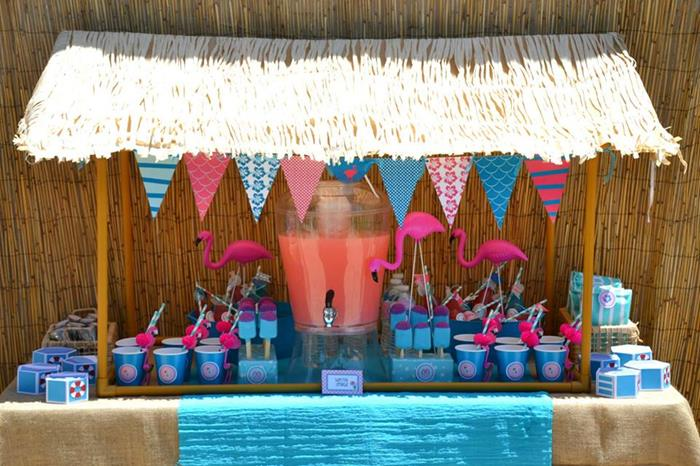 Kara 39 s party ideas flamingo pool party via kara 39 s party for Pool party dekoration