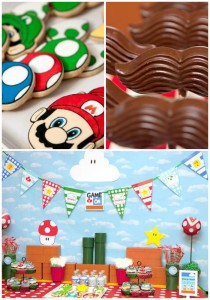 Mario Gamer Party with TONS of ideas via Kara's Party Ideas #Mario #VideoGames #PartyIdea #PartyDecorations